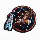 Dreamcatcher eagle embroidered iron on patch.