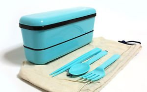 Lunch Box Set 2 Tier Japanese Bento Box School Lunch 2 colors MADE IN JAPAN