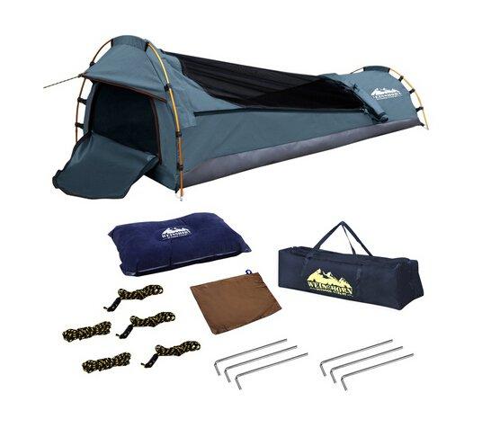Single Camping Canvas Swag Biker Navy Waterproof UV Resistant Air Pillow Travel