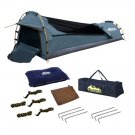 Single Camping Canvas Swag Biker Navy Waterproof UV Resistant Air Pillow Travel