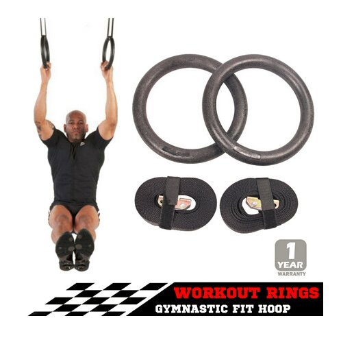 Gymnastic Gym Rings Hoop Crossfit Exercise Fitness Home Workout Dip Pair Bars
