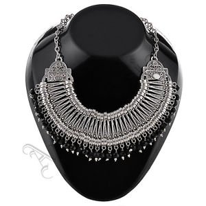 Oxidised White Metal Handcrafted Indian Ethnic Women Gypsy Necklace Jewelry 10