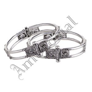 Oxidised White Metal Handcrafted Indian Ethnic Gypsy Kada Bangles Jewelry 01