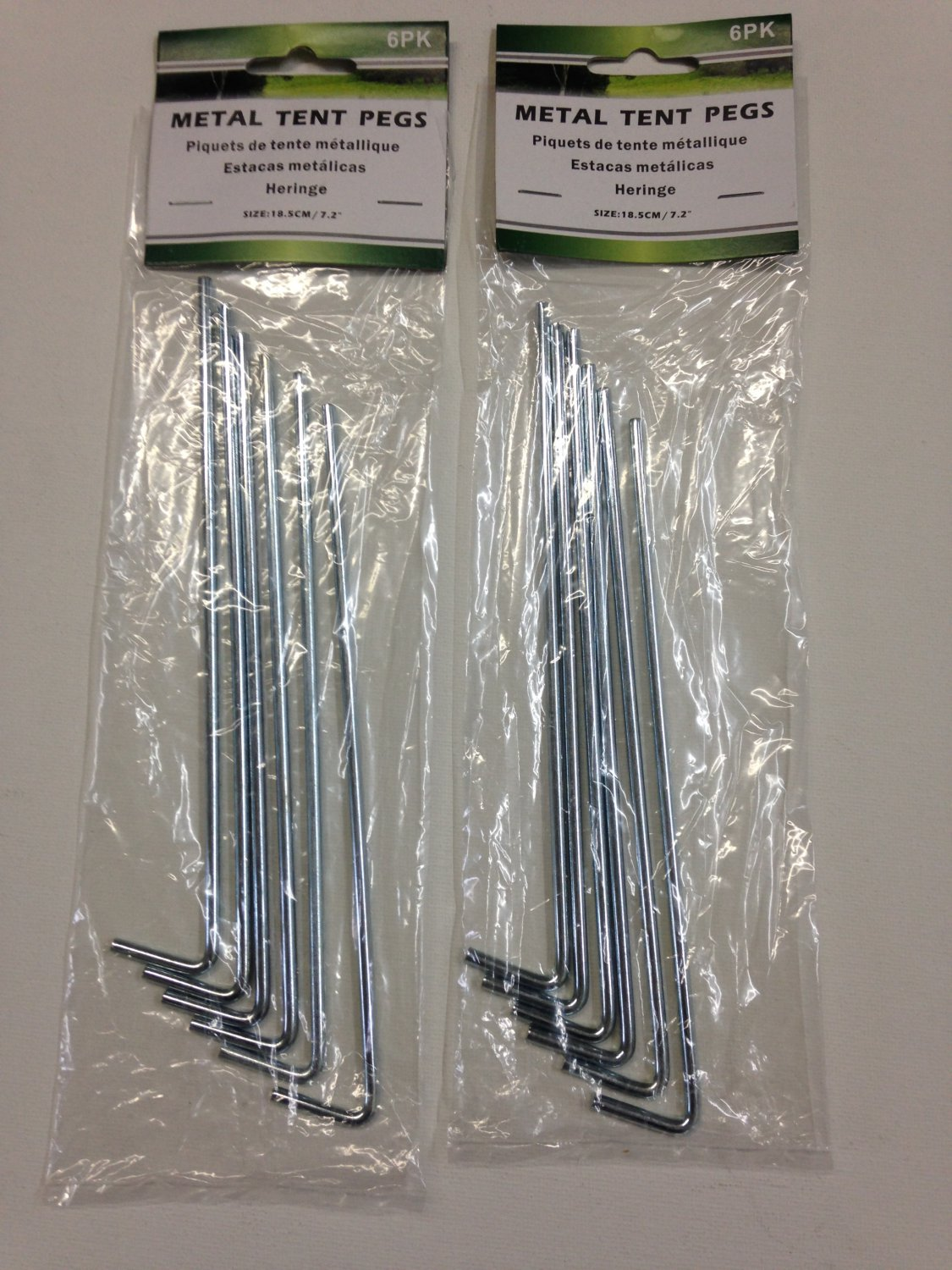 "Set of 12 Metal 7"" Tent Pegs Stakes"