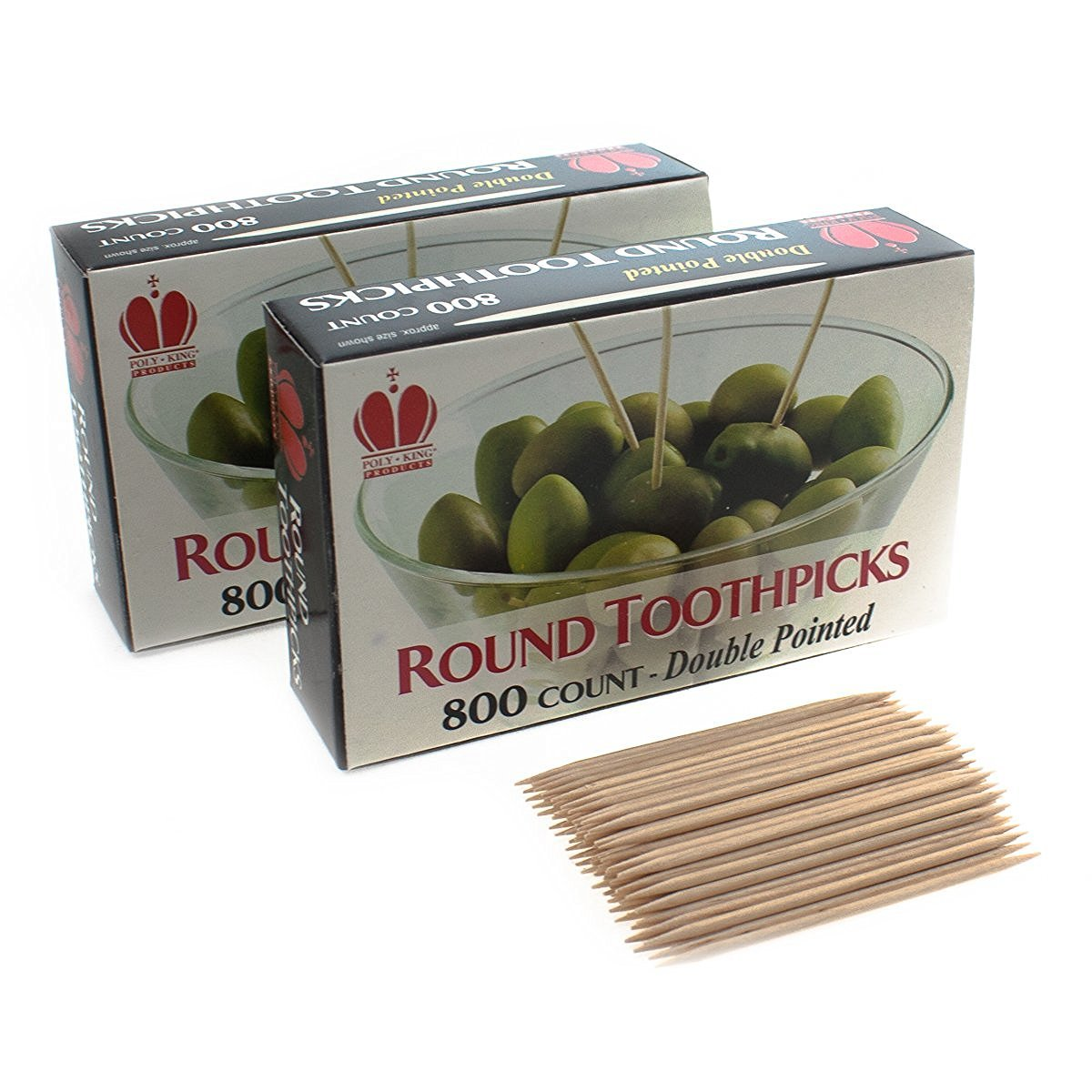 1600 Count Box Round Rounded End Wood Wooden Toothpicks
