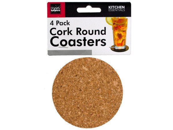 "4-Pack 3.5"" Round Cork Coasters for Beverages & Drinks"