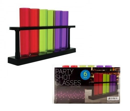 6 Test Tube Party Shot Glasses With Stand