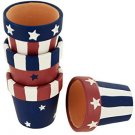 Americana Terra Cotta Napkin Rings Holders Set (set of 4)
