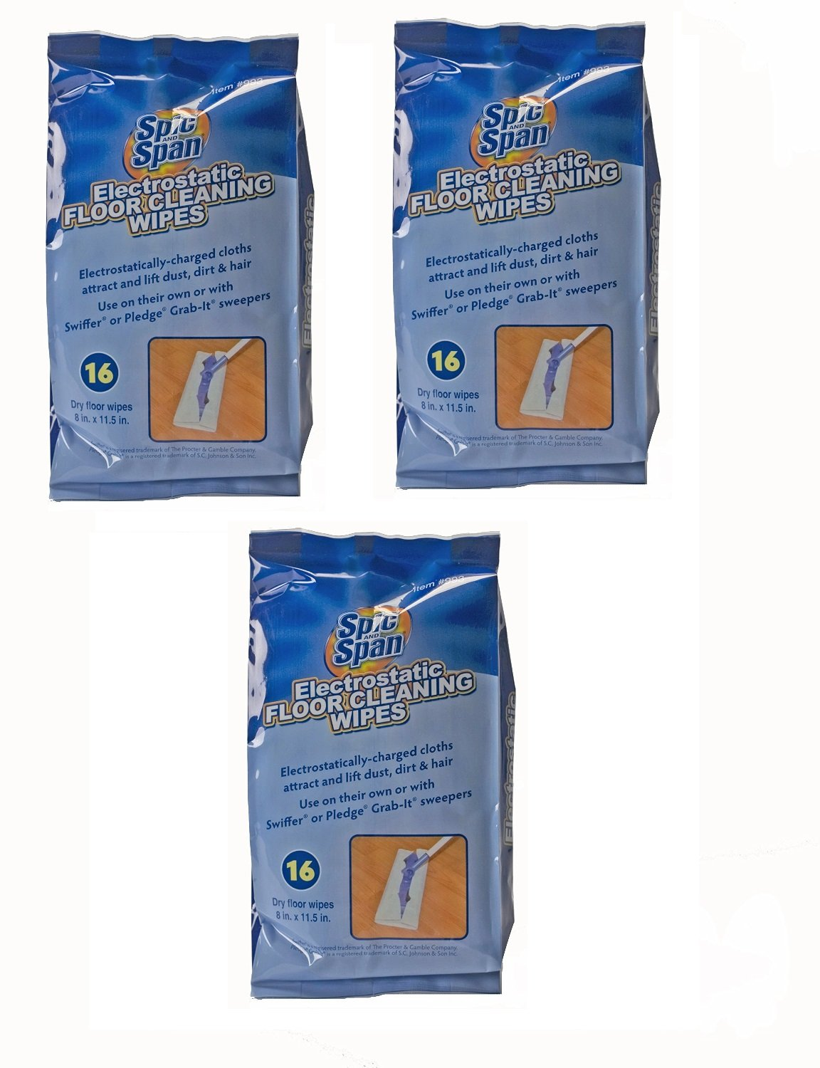 3 pack (48) Spic and Span Kleen Maid Electrostatic Dry Floor Wipes