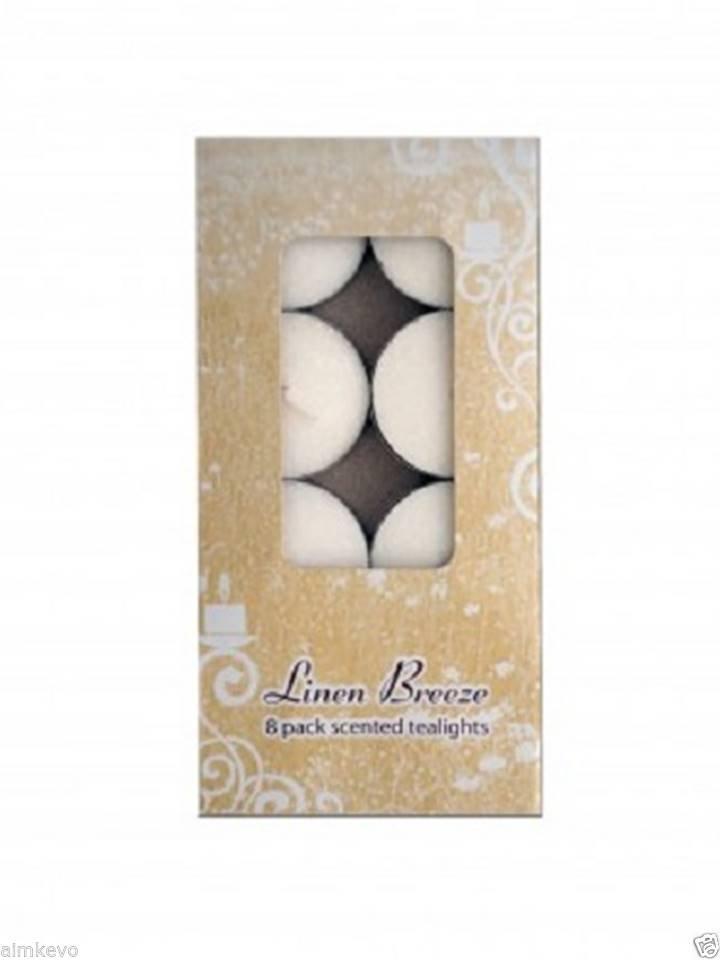 8-Pack Linen Breeze Scented Tea Lights Candles