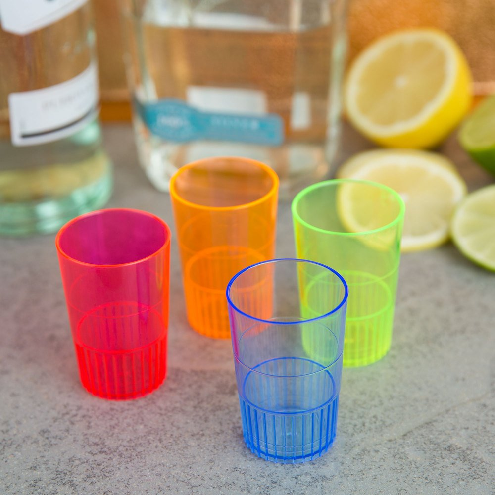Fineline Settings Quenchers 1.5 oz Multi-color Neon Plastic Shooter Glasses (set of 36)