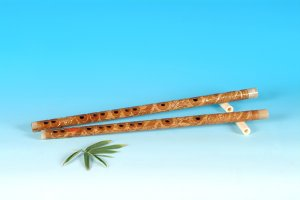 YJ-408-Bamboo Flute Engraved W/T Dragon & Phoenix