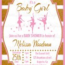 Dancing Ballerina's Baby Shower Invitation/ Ballerina Themed Baby Shower invitation