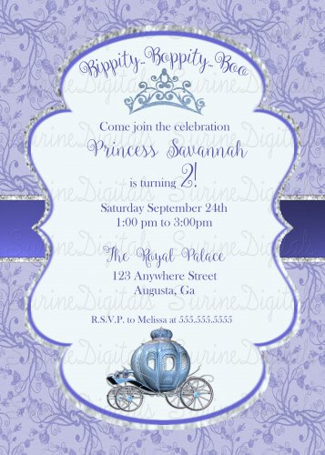 Princess Cenderella Themed Birthday Party Invitation/ Girl's Princess Party Invitation