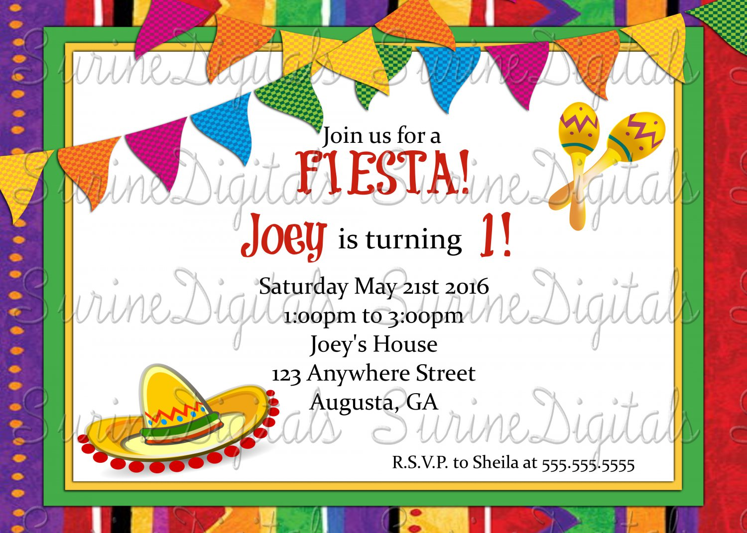 Lets Fiesta Invitation Spanish Themed Birthday Party