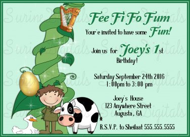 Jack and The Bean Stalk and the Goose that laid the Golden Egg Birthday Party Invitation