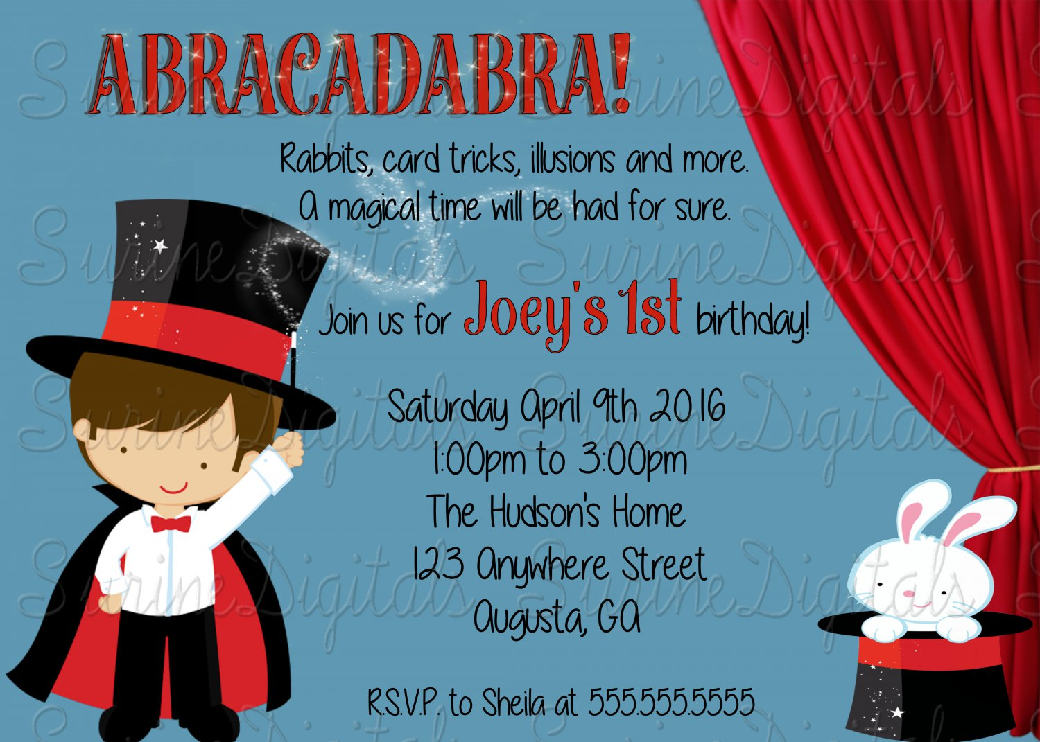 Little Magician Birthday Party Invitation Magic Show Themed Party