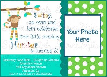 Mod Monkey Birthday Invitation with your child's Photo