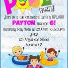 Fun in the Sun Pool Party Invitation/ Summer Birthday party Invite