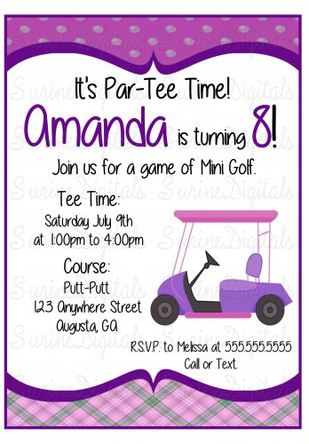 Golf Cart Birthday party Invitation/ Mini Golf Themed Party Invitation