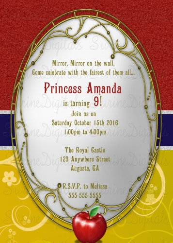 Snow White Themed Birthday party Invitation/ Princess Party Invite