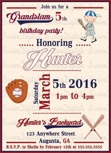 Boys Baseball Themed Invitation/ Summer Fun Party Invitation