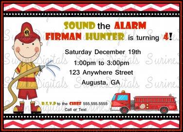 Fireman themed Birthday party invitation/ Firetruck Birthday party invitation