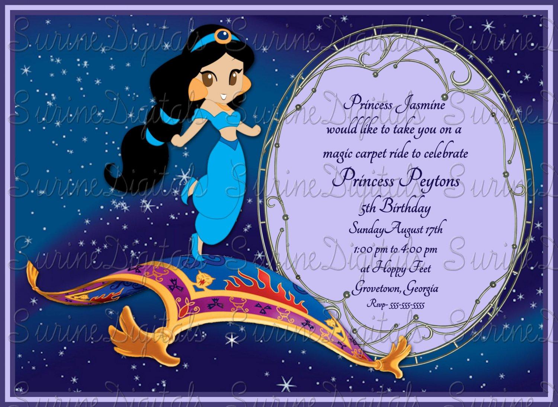 Princess Jasmine On The Magic Carpet Birthday Invitation Girls Party Invite