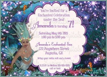 Enchanted Under the Sea mermaid Adventure Birthday party invitation