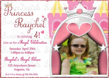 Princess Castle With Your child's Photo/ Princess Party Invitation