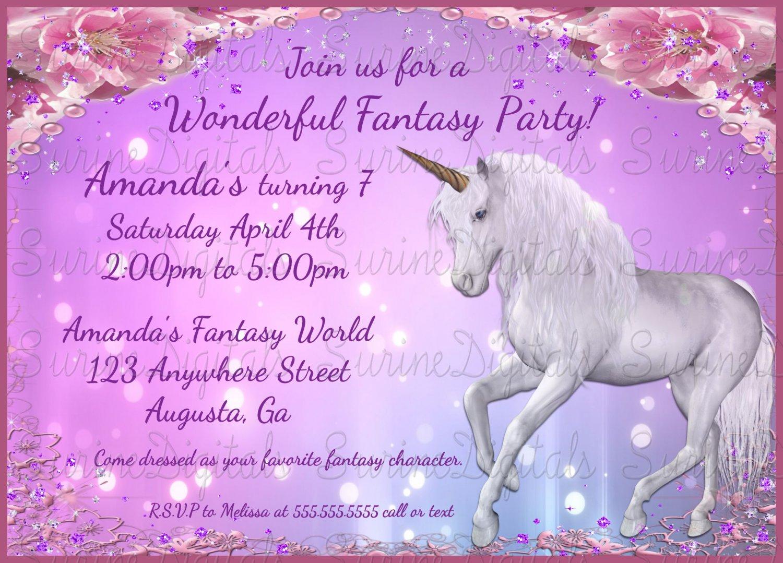 Unicorn Themed Birthday Party Invitation Fantasy Invite