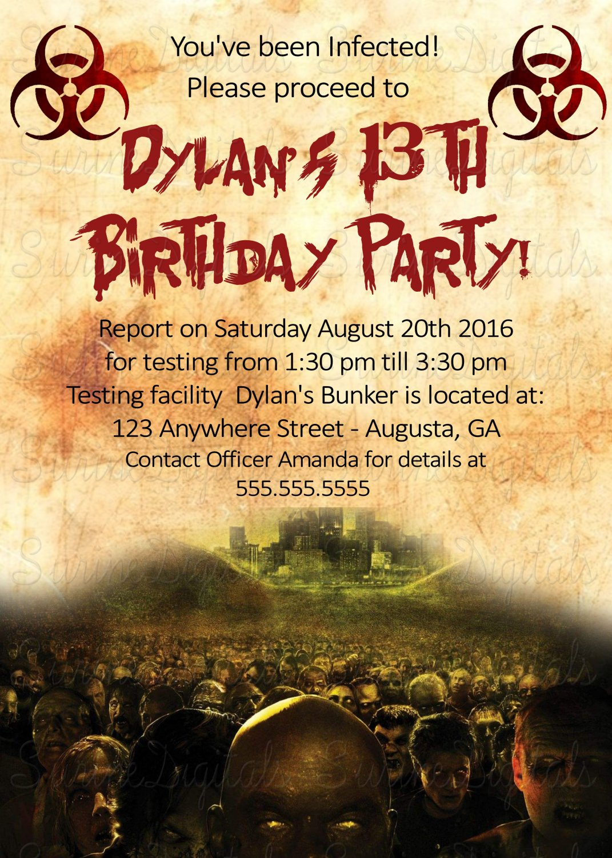 Zombie Apocalypse Walking Dead Birthday Party Invitation Halloween Themed Invite