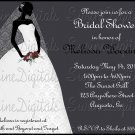 Black and White Bridal Shower Invtation with Bride Silhouette