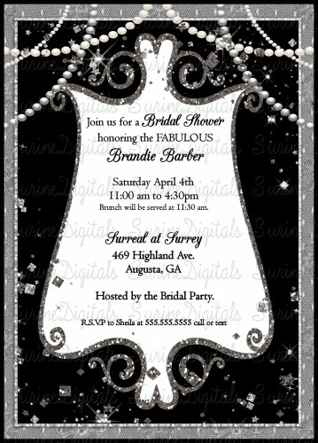 Black and White Elegant Pearls and Sparkles Bridal Shower Invitation