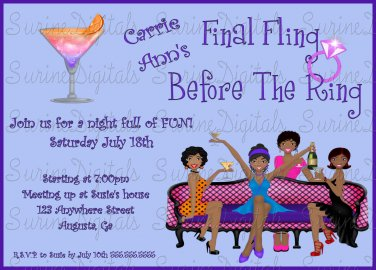 Final Fling Before The Ring Bachelorette Party Invite, Girls Night Out Party Invite