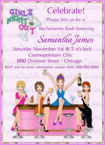 Girl Friends Party Invitation/ Girls Night Out Bachelorette Party Invite/ Bridal Shower Invitation