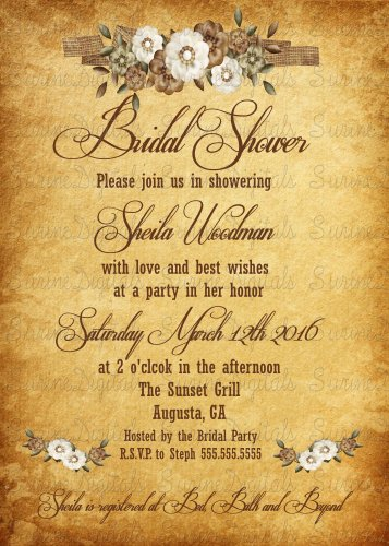 Parchment Paper and Flowers Bridal Shower Invitation/ Country Themed Bridal Shower Invite
