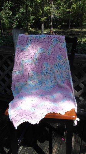 Light Pink Handmade Crochet Baby Girl Car Seat Blanket/ Baby Shower Gift for Baby Girl