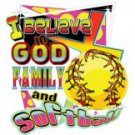 I Believe In God Family and Softball Tee Shirt
