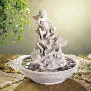 Cherub Fountain-with River Stones