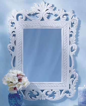 Ornate Distressed Finish  White Mirror
