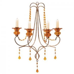 WALL CANDELIER WITH AMBER GLASS DROPS