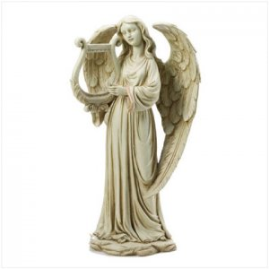 ANGEL HOLDING HARP FIGURINE