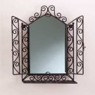 Wrought Iron Wall Mirror with Shelf