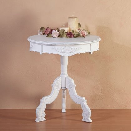 Distressed White Round Accent Table