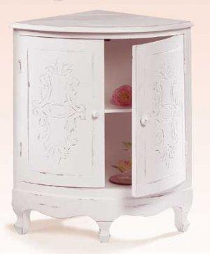 Distressed White Corner Cabinet