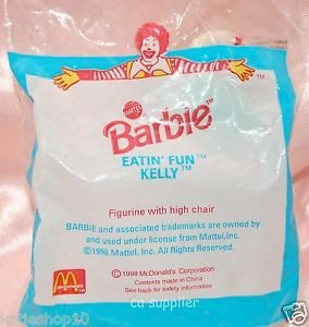 1998 McDonald's + Mattel Barbie Eatin' Fun Kelly Figurine w/ High Chair