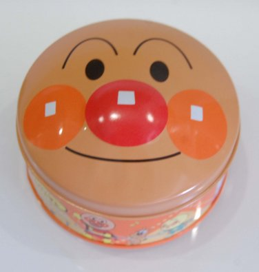 "USED Fujiya Anpanman Round Metal Tin Can Mug w/ 3D Cover 4"" x 2""H"