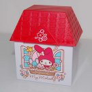 "USED 2015 Sanrio My Melody House Shape Red Roof Plastic Box Container Mug 3"" x 2.25"" x 2.25""H"