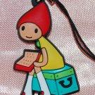 "Plastic Cute Girl Figure Strap Charm Mascot 1.25""H #1"
